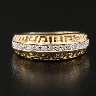 Sterling Silver Zircon Ring with Greek Key Openwork