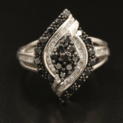 Sterling Diamond Navette Cluster Ring