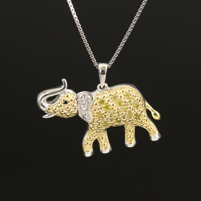 Sterling Elephant Pendant Necklace with Diamond and Cubic Zirconia