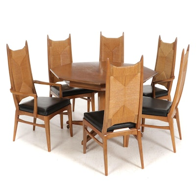 Mid Century Modern Walnut and Rush Dining Chairs and Richardson Table