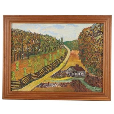 Landscape Oil Painting of Farm, 1969