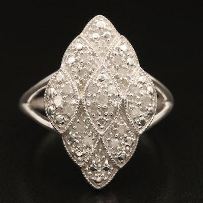 Sterling Diamond Scaled Navette Ring