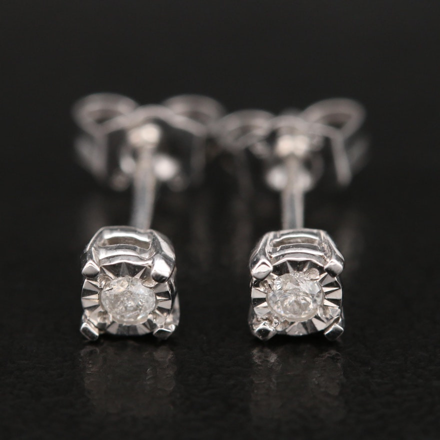 Sterling Diamond Stud Earrings with Illusion Settings