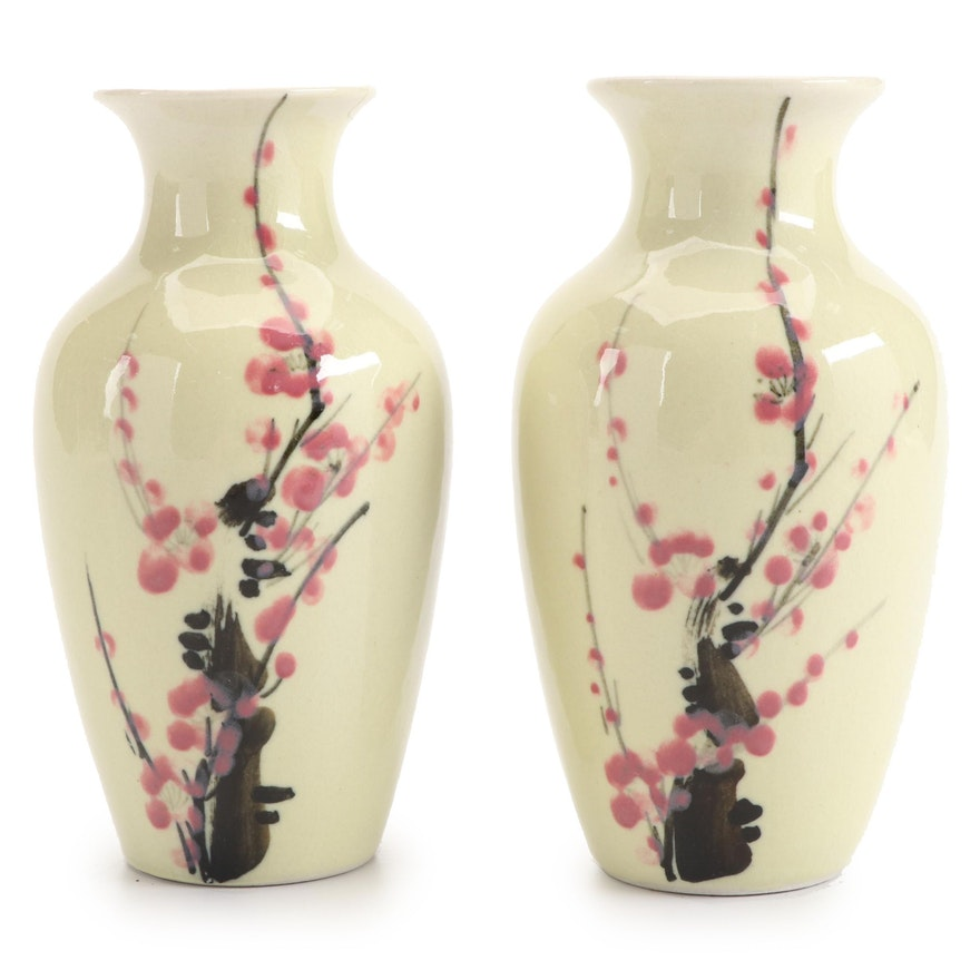 Pair of Japanese Style Cherry Blossom Motif Ceramic Vases