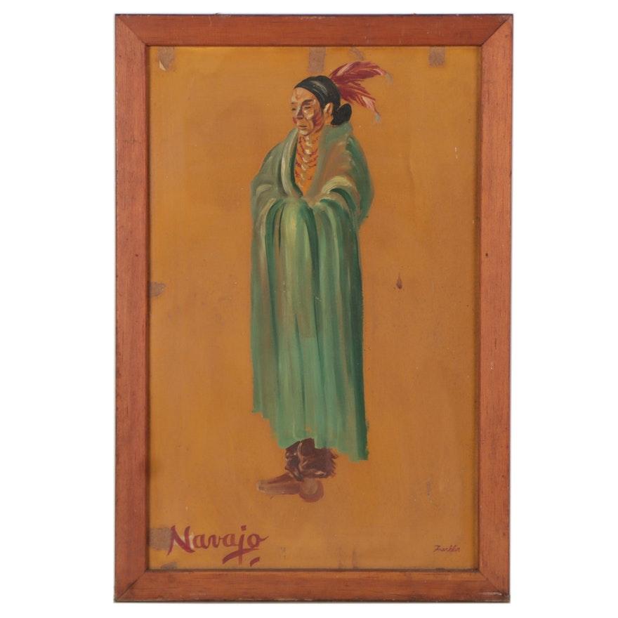 Oil Portrait of Navajo Elder, Mid-20th Century