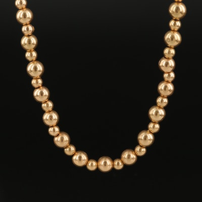 14K Beaded and Serpentine Chain Necklace