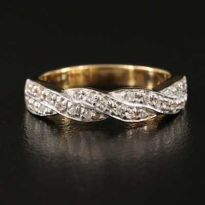 Sterling Silver Zircon Braided Band