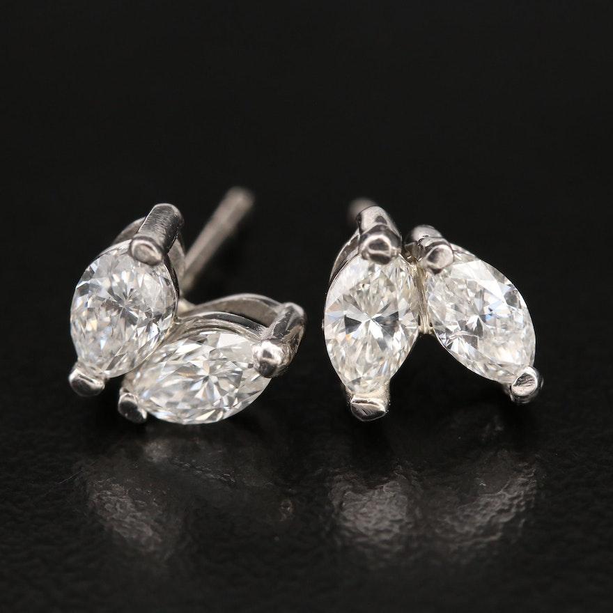 Platinum and 14K 2.23 CTW Diamond Stud Earrings