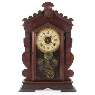 "Russell & Jones Clock Co. ""Dover"" Walnut Wood Mantel Clock, Late 19th C."
