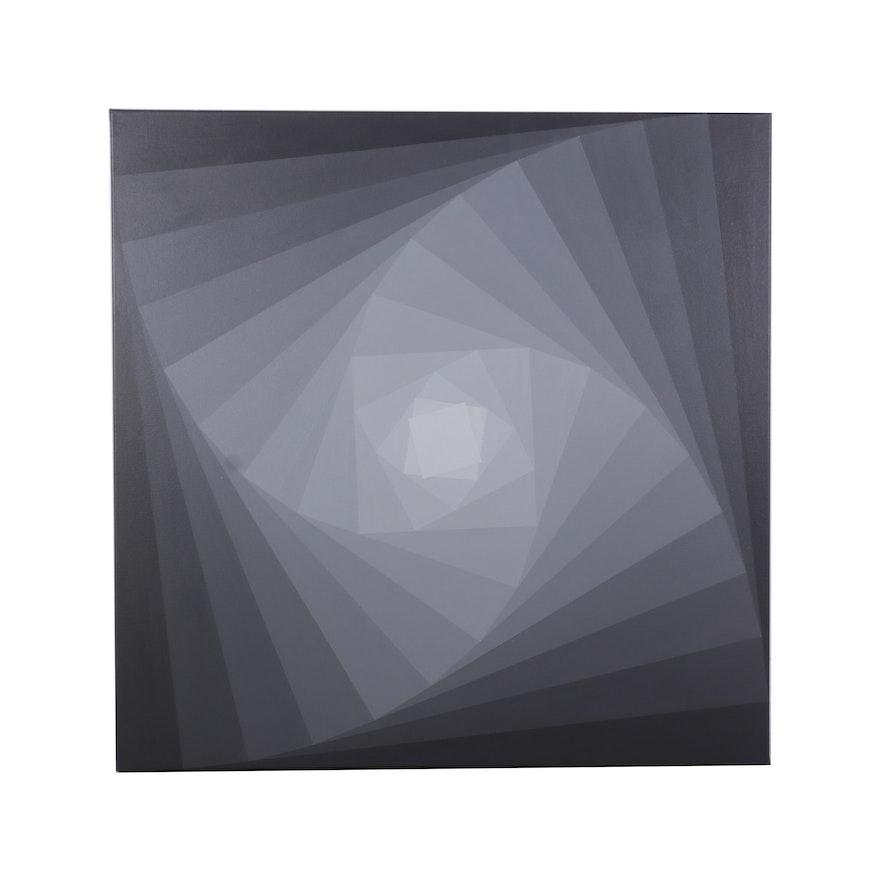 """deSanto Op Art Acrylic Painting """"Casi Noir,"""" 2021"""