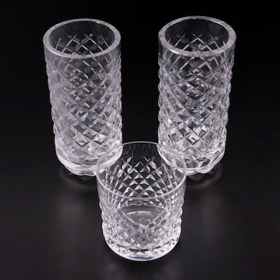 """Waterford Crystal """"Alana"""" Old Fashioned Glass and Footed Vases"""