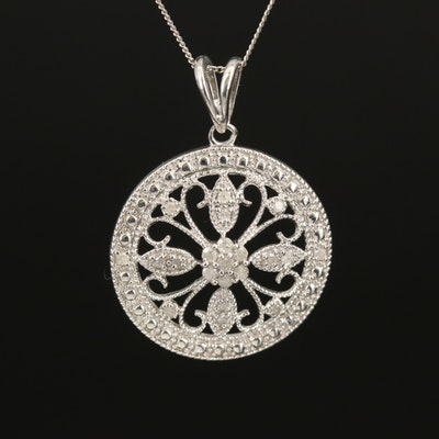 Sterling Diamond Openwork with Scrollwork Pendant Necklace
