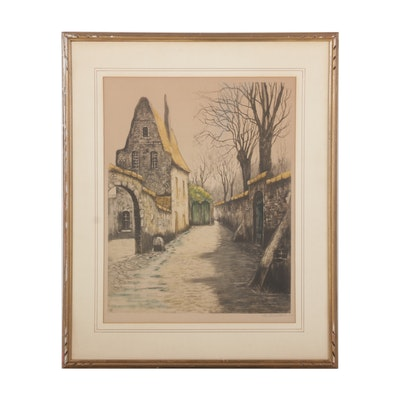 European Village Alley Etching With Aquatint, Circa 1917