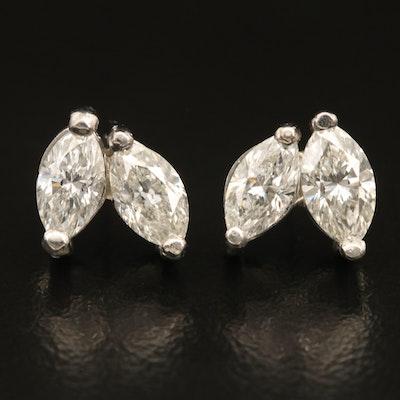 Platinum Marquise Faceted 1.74 CTW Diamond Earrings