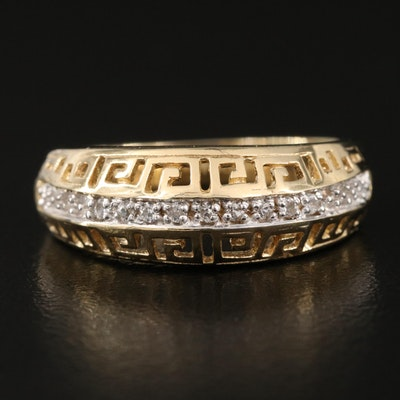 Sterling Silver and Zircon Greek Key Patterned Ring