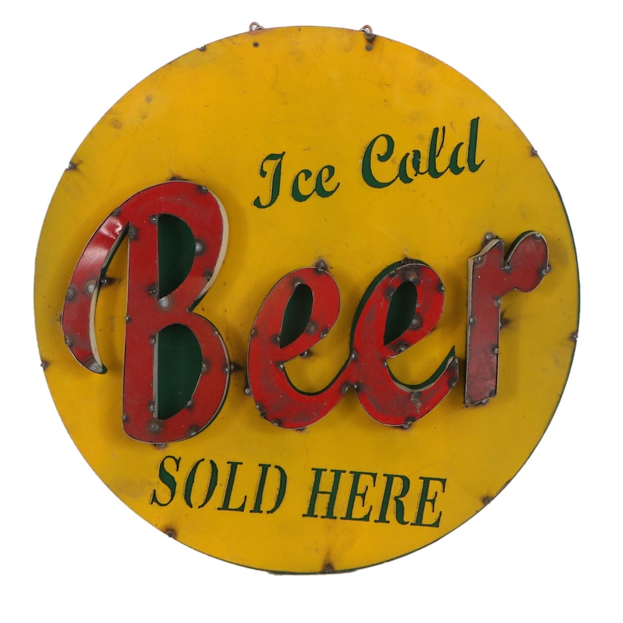 Round Recycled Tin Beer Sign, Late 20th Century
