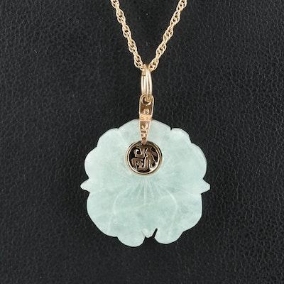 """14K Jadeite Lotus """"Good Fortune"""" Pendant Necklace"""