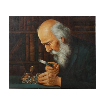"""Oil Painting After Joseph Kahil """"The Collector,"""" Late 20th Century"""