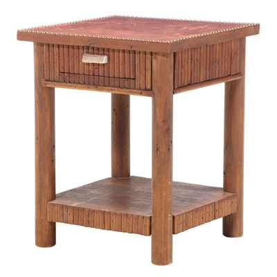 Antèks Adirondack Style Pine End Table with Leather Top