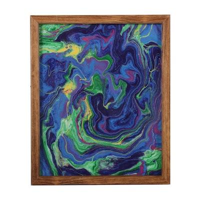 "Samara Helen Blankenship Acrylic Painting ""Blue Abyss,"" 21st Century"