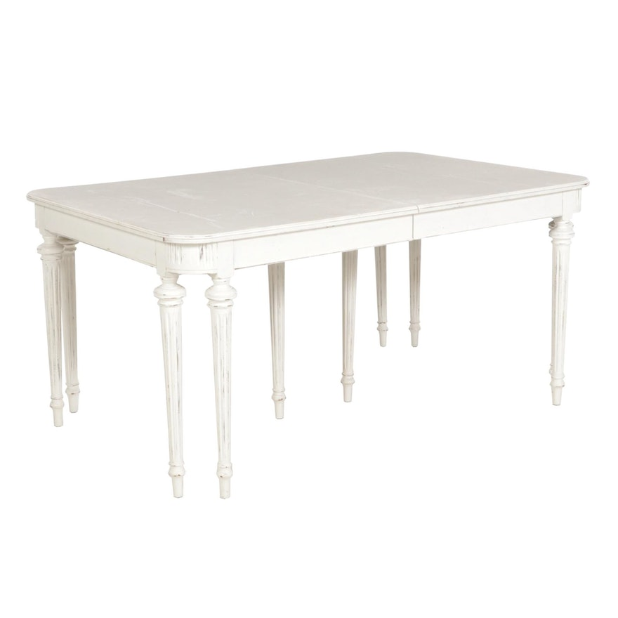 Gustavian Style White-Painted Wood Dining Table