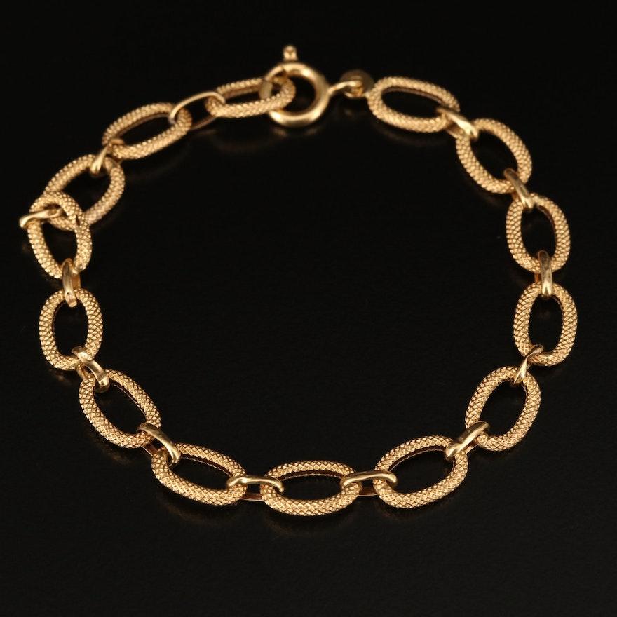 18K Textured Oval Link Bracelet