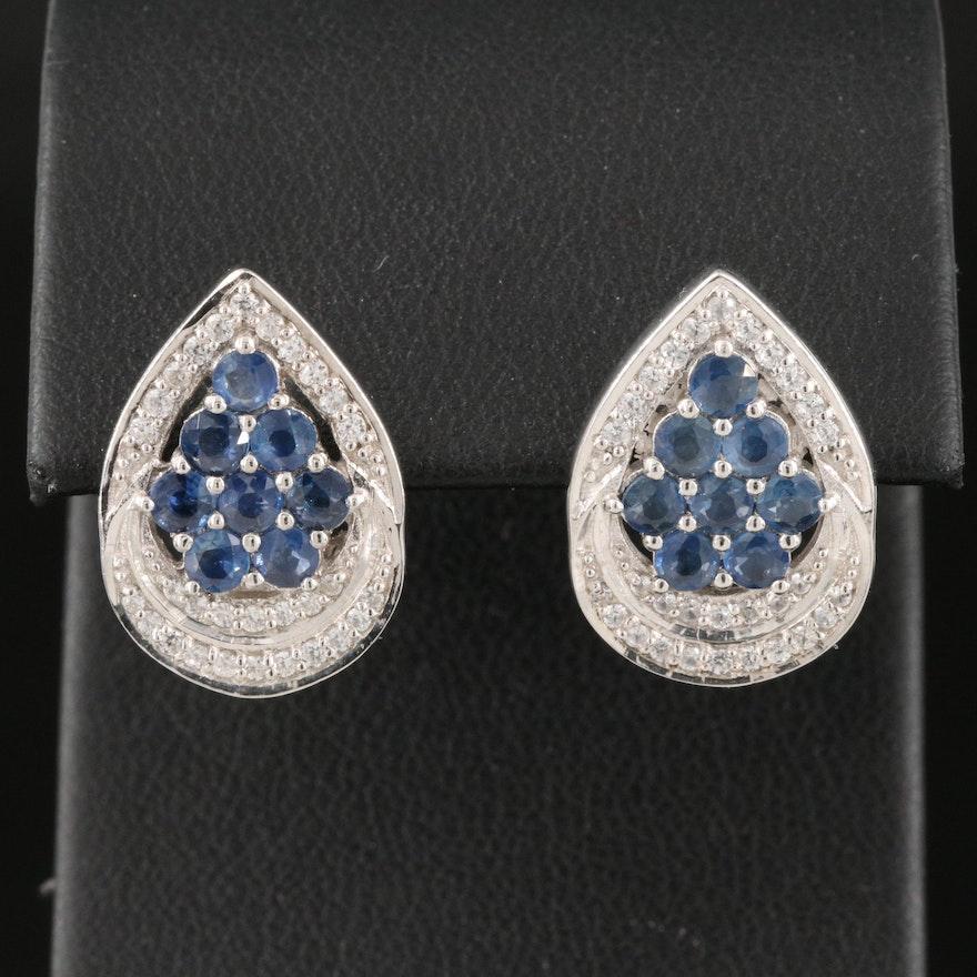 Sterling Silver Sapphire and Zircon Earrings