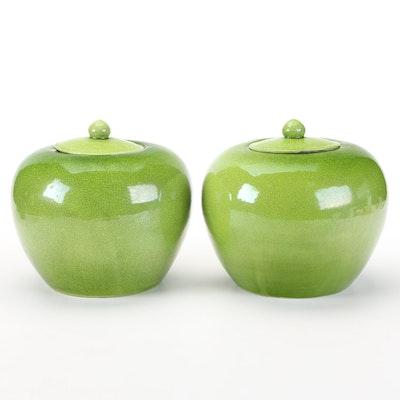 Tozai Home Chinese Green Crackle Glazed Melon Jars
