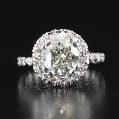 Platinum 2.73 CTW Diamond Ring with Eternity Shank