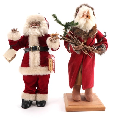 """Lynn Haney and Lynn West Handcrafted """"Father Christmas"""" and Other Santa Figures"""