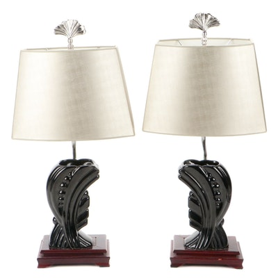 Art Deco Style Black Ceramic Vase Mounted Table Lamps