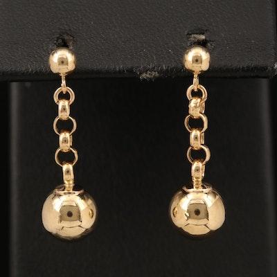 14K Beaded Drop Earrings