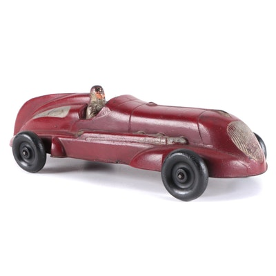 Art Deco Rubber Toy Racing Car, Mid-20th Century