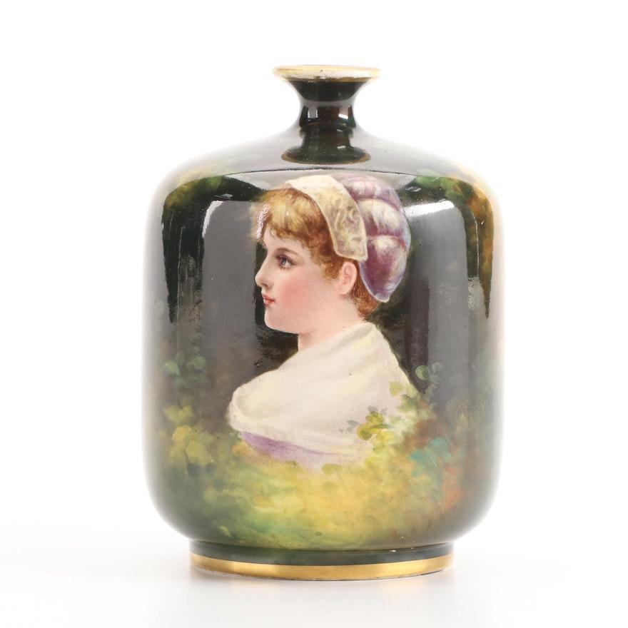 Royal Bonn Porcelain Hand-Painted Portrait Bud Vase, Late 19th/ Early 20th C.