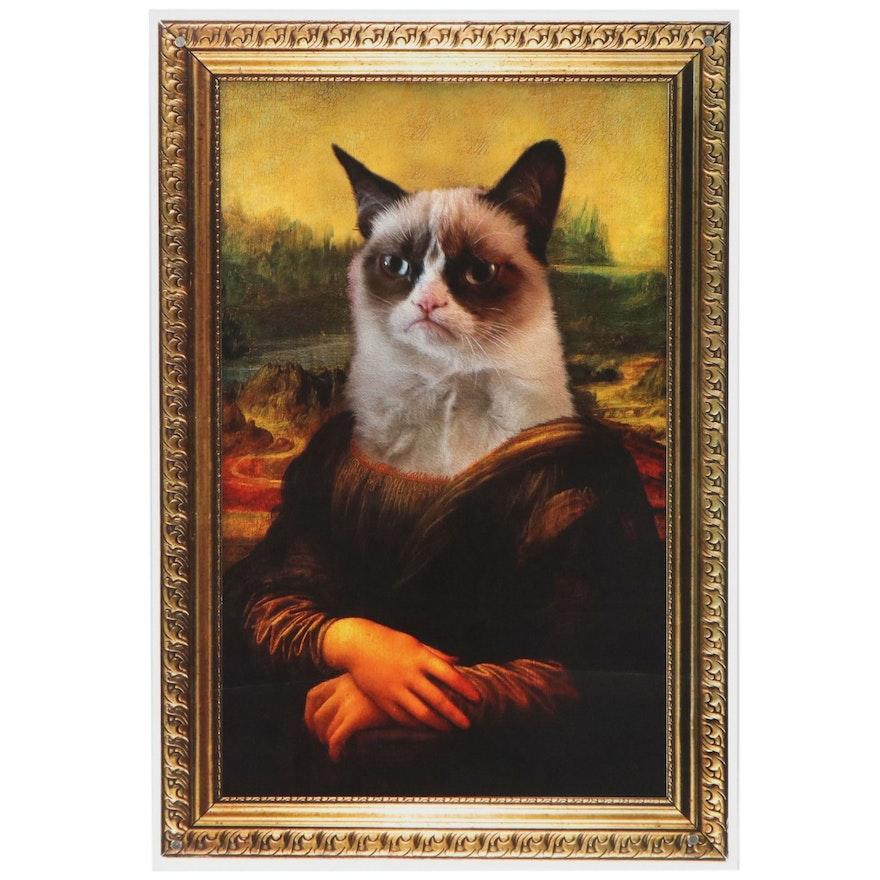 "Offset Lithograph ""Grumpy Cat Mona Lisa,"" 21st Century"