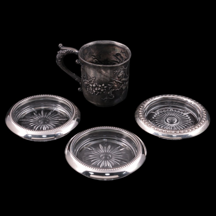 Homan Repousse Cup and Other Silver Plate and Sterling Rimmed Coasters