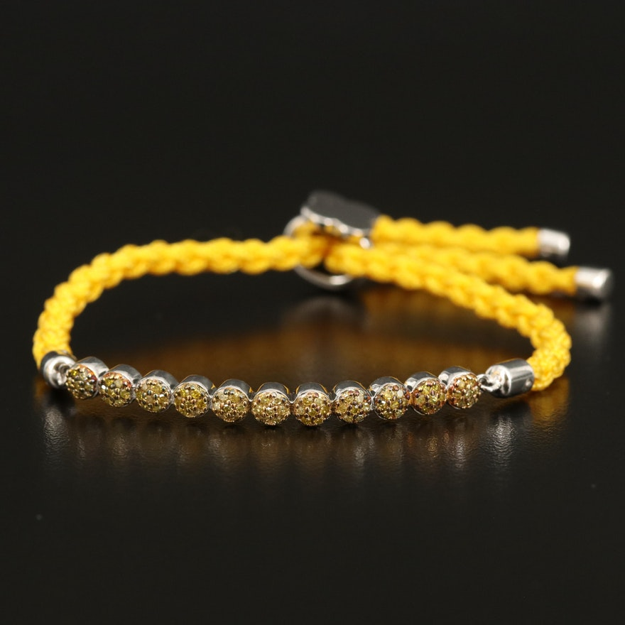 Sterling Yellow Diamond Bolo Bracelet