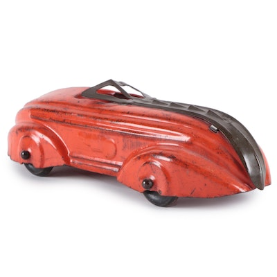 Art Deco Red Pressed Steel Toy Car, Early to Mid 20th Century