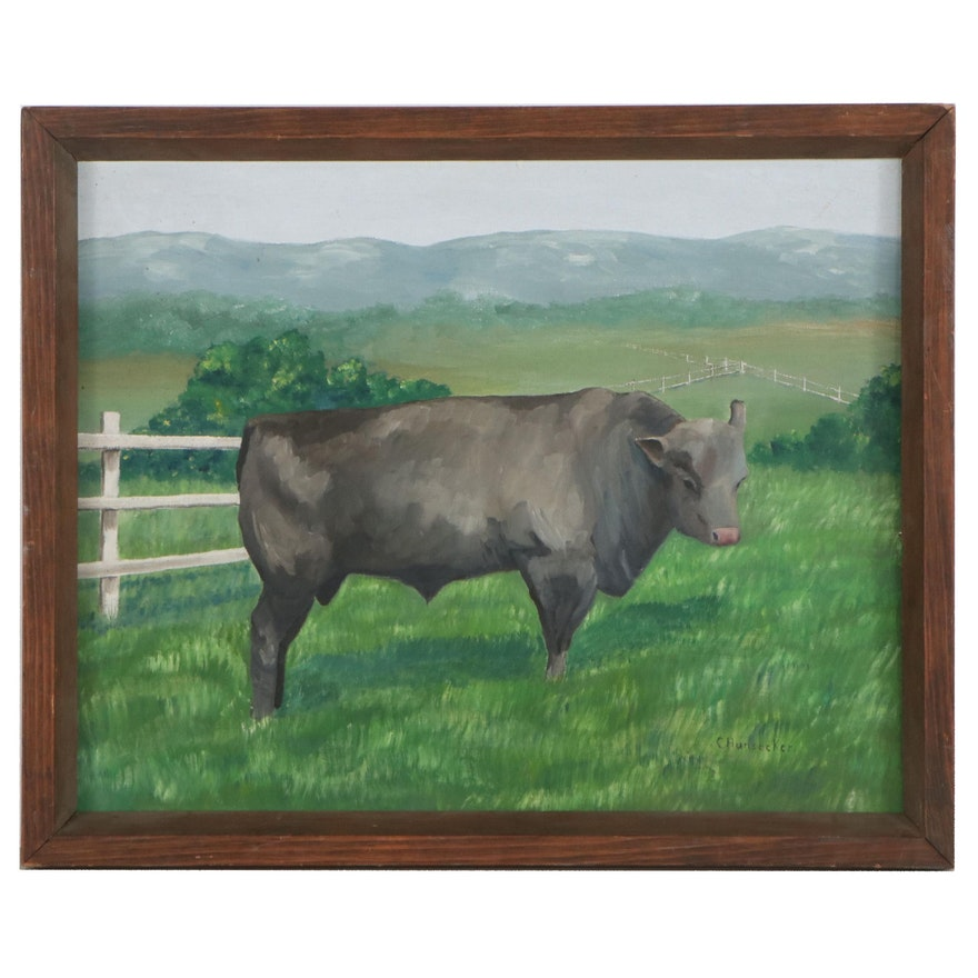 Oil Painting of Grazing Cow, Circa 2000