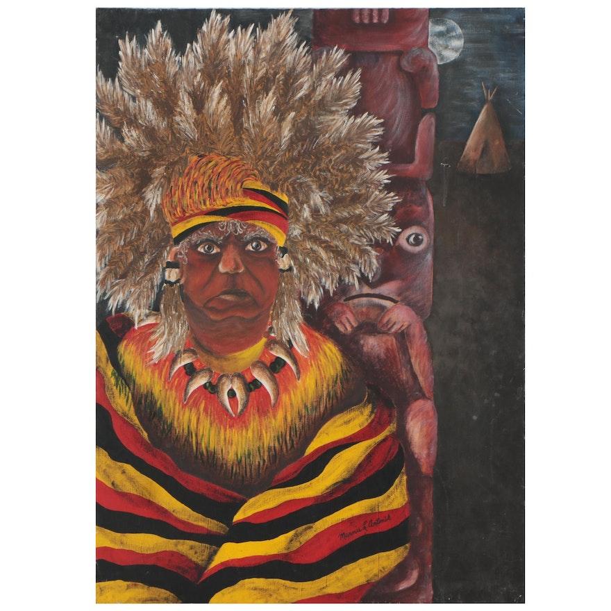 Marnie Antonik Acrylic Painting of Indigenous Elder, Late 20th Century