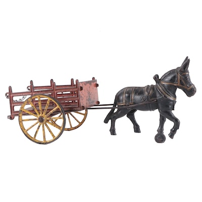 Cast Iron Donkey and Cart Push Toy,  Early to Mid 20th Century