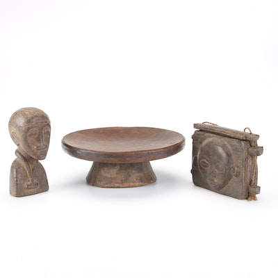 Handcrafted African Bust and Pedestal With Wood Kuba Style Container