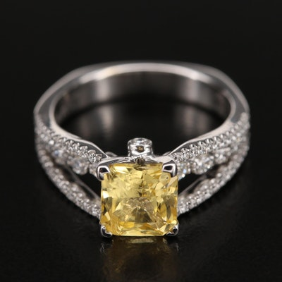 Simon G. 18K 2.08 CT Sapphire and 0.55 CTW Diamond Cathedral Ring