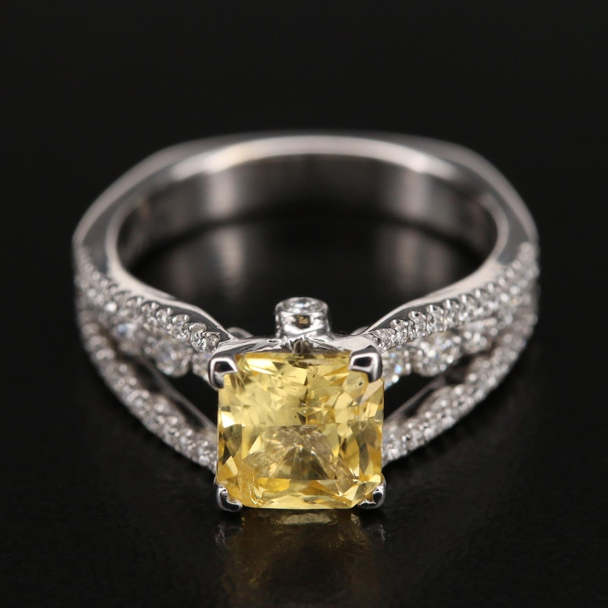 Simon G. 18K 2.08 CT Unheated Sapphire and 0.55 CTW Diamond Ring with GIA Report