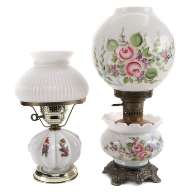 Painted Milk Glass Table Lamps, Early to Mid 20th Century
