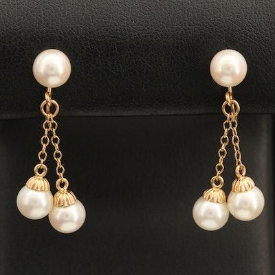 10K Pearl Drop Earrings