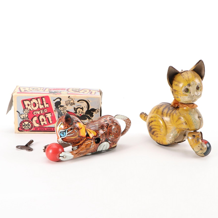 """Marx Toys """"Roll Over Cat"""" with Other Tin Lithograph Wind-Up Toy"""