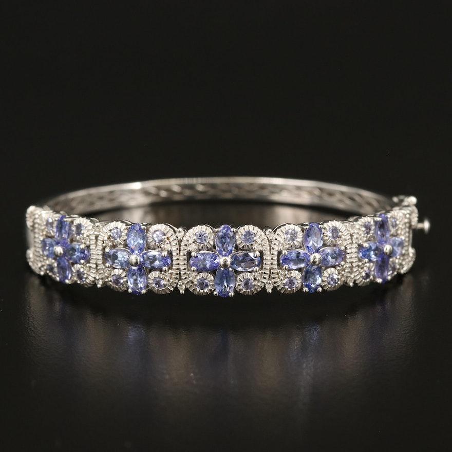 Sterling Tanzanite and Diamond Hinged Bangle