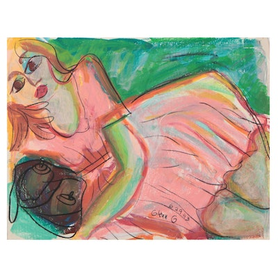 Figural Oil Pastel Drawing, 1993