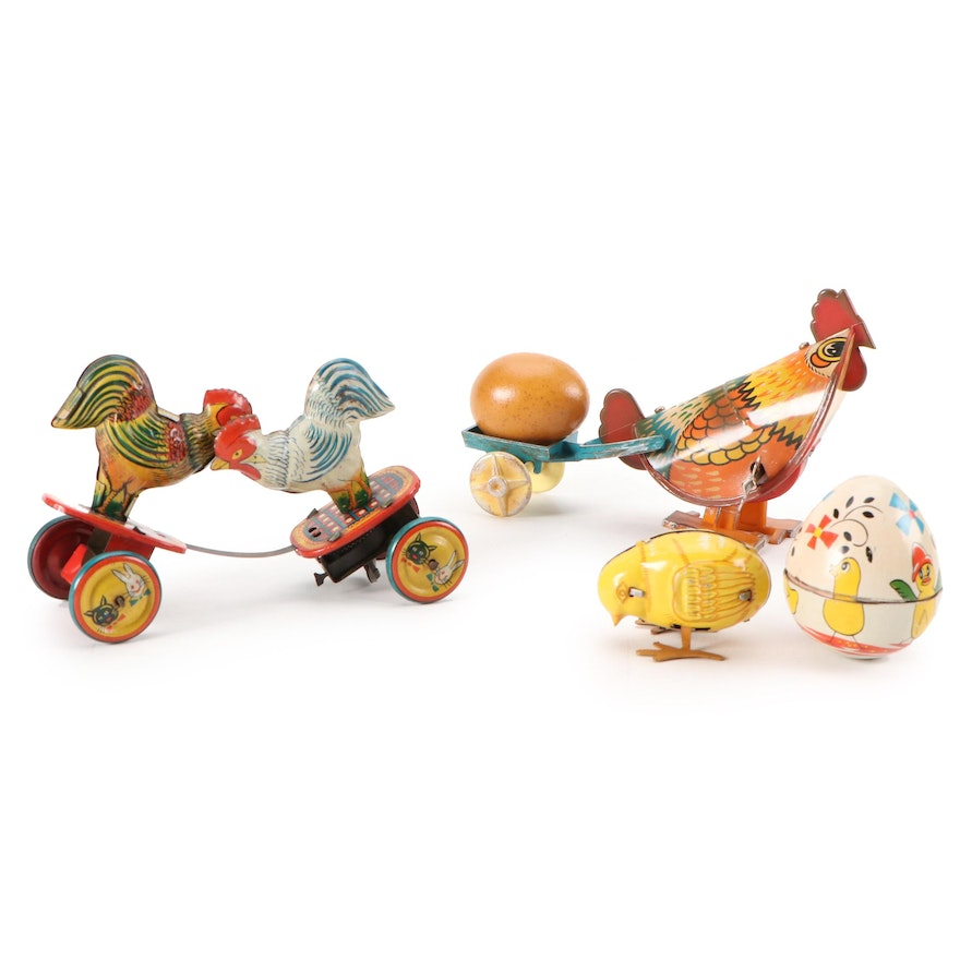 Chicken-Themed Tin Lithograph Wind-Up Toys